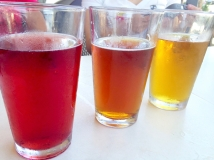 A rainbow of beer! I think the red one had hibiscus in it.